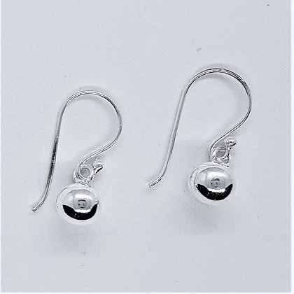 Silver Sphere Drop Earring