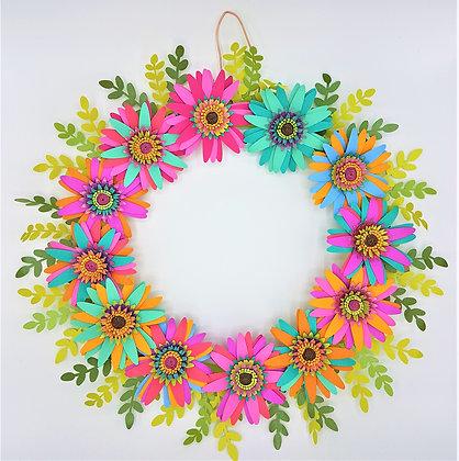 Rainbow Blooms Wreath