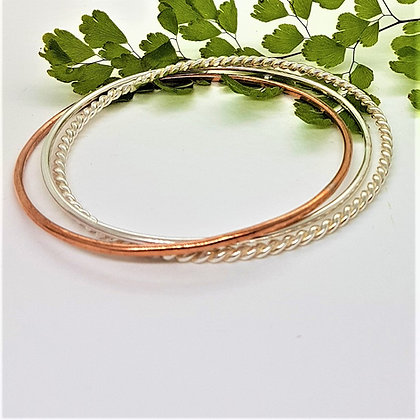 Sterling Silver and Copper Trio Stacking Bangle