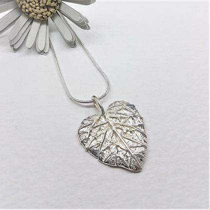 Silver Leaf Heart Necklace