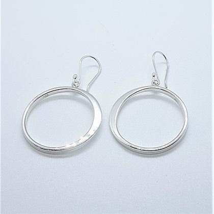 Graduated Silver 'O' Drop Earrings