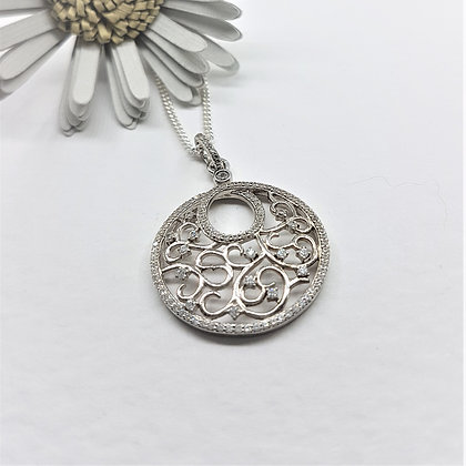 Ornate Silver and Cubic Zirconia Circular Necklace