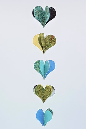 Heart Mobiles - Blue and Yellow