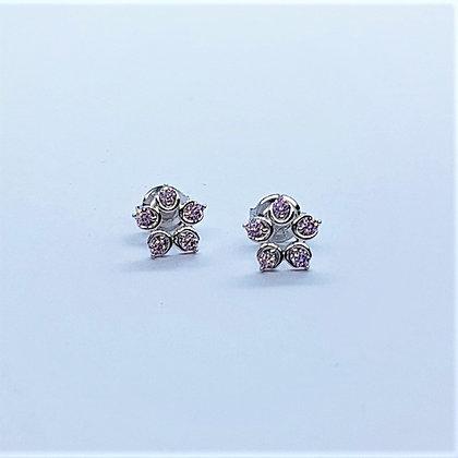 Pink Diamond Cubic Zirconia Flower Earrings