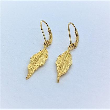 Willow Leaf Earrings, Silver, Cubic Zirconia & Gold Vermeil