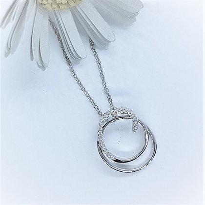 Silver & Cubic Zirconia Elegant Loop Necklace