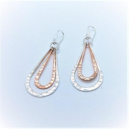 Large Silver and Copper Teardrop Earrings