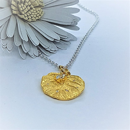 Elder Leaf Pendant, Silver, Cubic Zirconia & Gold Vermeil