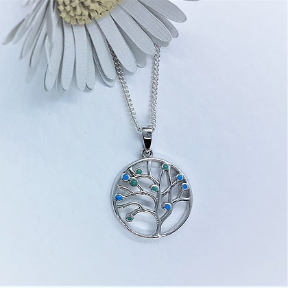Tree of Life Necklace, Silver and Blue Opalique