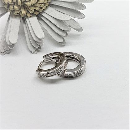 Diddy Silver & Cubic Zirconia Huggie Earrings