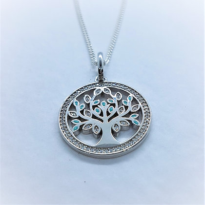 Tree of Life Necklace, Silver, CZ and Turquoise