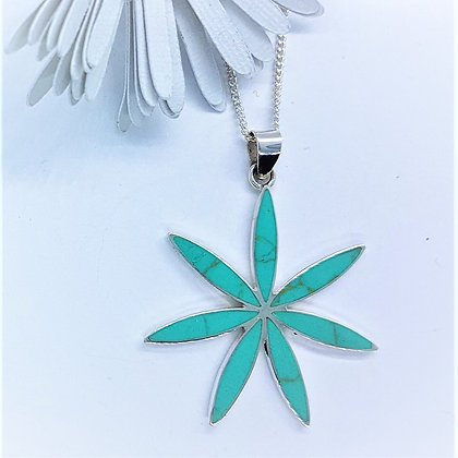 Silver and Turquiose Flower Necklace