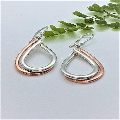 Silver and Copper Double Teardrop Earrings