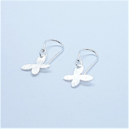 Brushed Silver Butterfly Earring