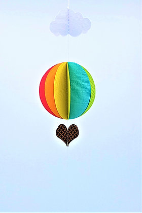 Hot Air Baloon Mobile - Bright Rainbow