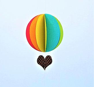 Hot Air Baloon Mobile - Bright Rainbow
