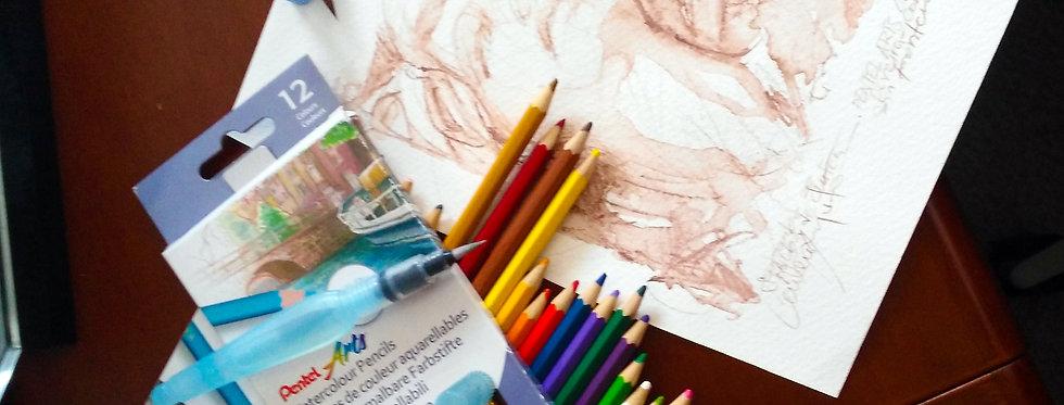 Pentel Colores Acuarelables x 12 y 24  colores para dibujar pintar  difumina con nuestro  Aquash Brush para efectos acuarela