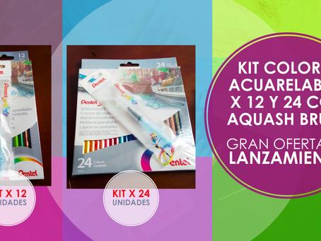 Gran Oferta, llévate Nuestro Super KIT Colores Acuarelables x 12 y 24 con Aquash Brush