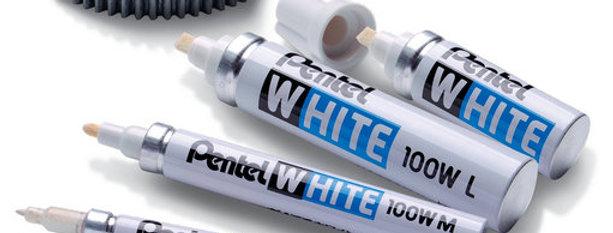 Pentel Marcador Blanco Tinta De Secado Rápido marca sobre metal plástico vidrio madera papel