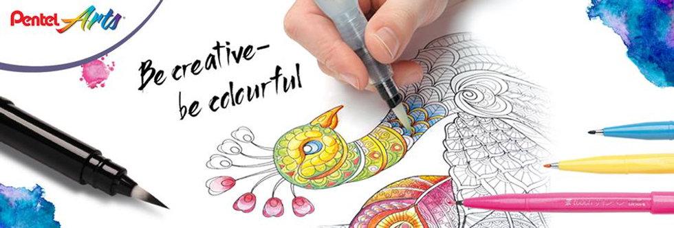 Pentel pincel con deposito de agua  puntas resistentes no pierden el diseño original  3 puntas úsalos con acuarelas y colores
