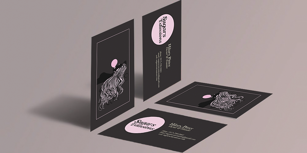 sugars extensions, business cards, packaging