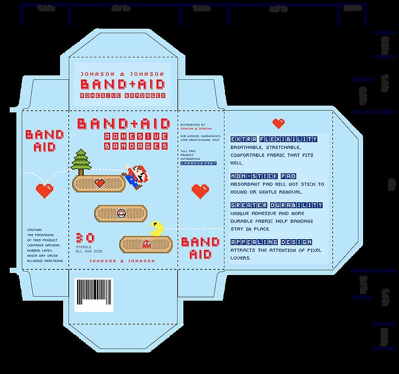 band aid, edit, box, mario, pacman, toad, design, graphic designer