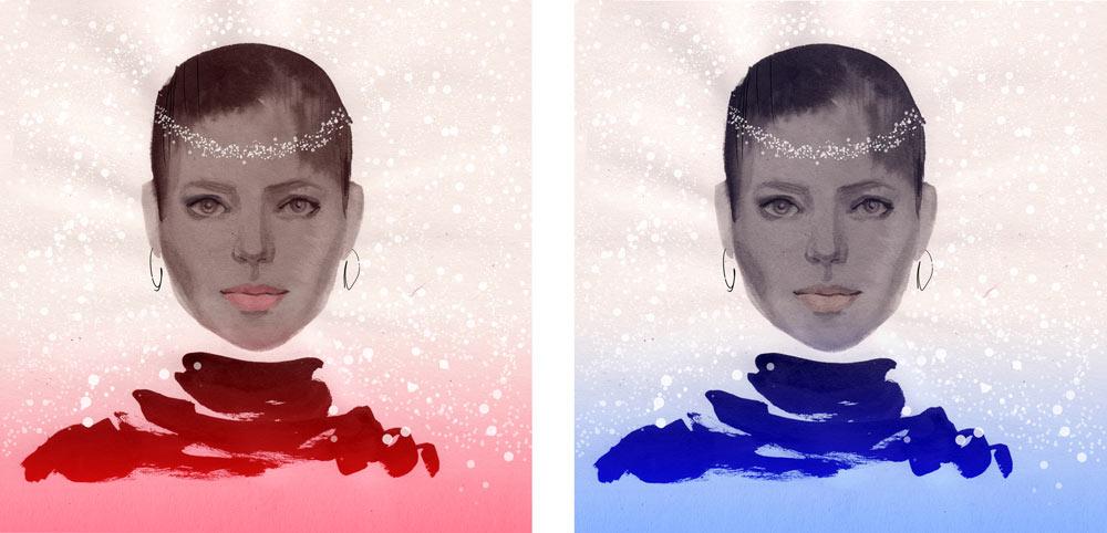 Winter portrait – ink washes
