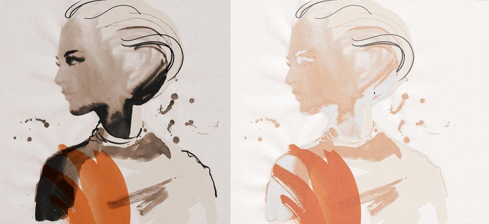 India ink portrait two ways