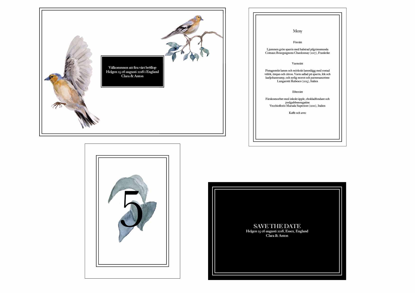 Wedding invitation, birds