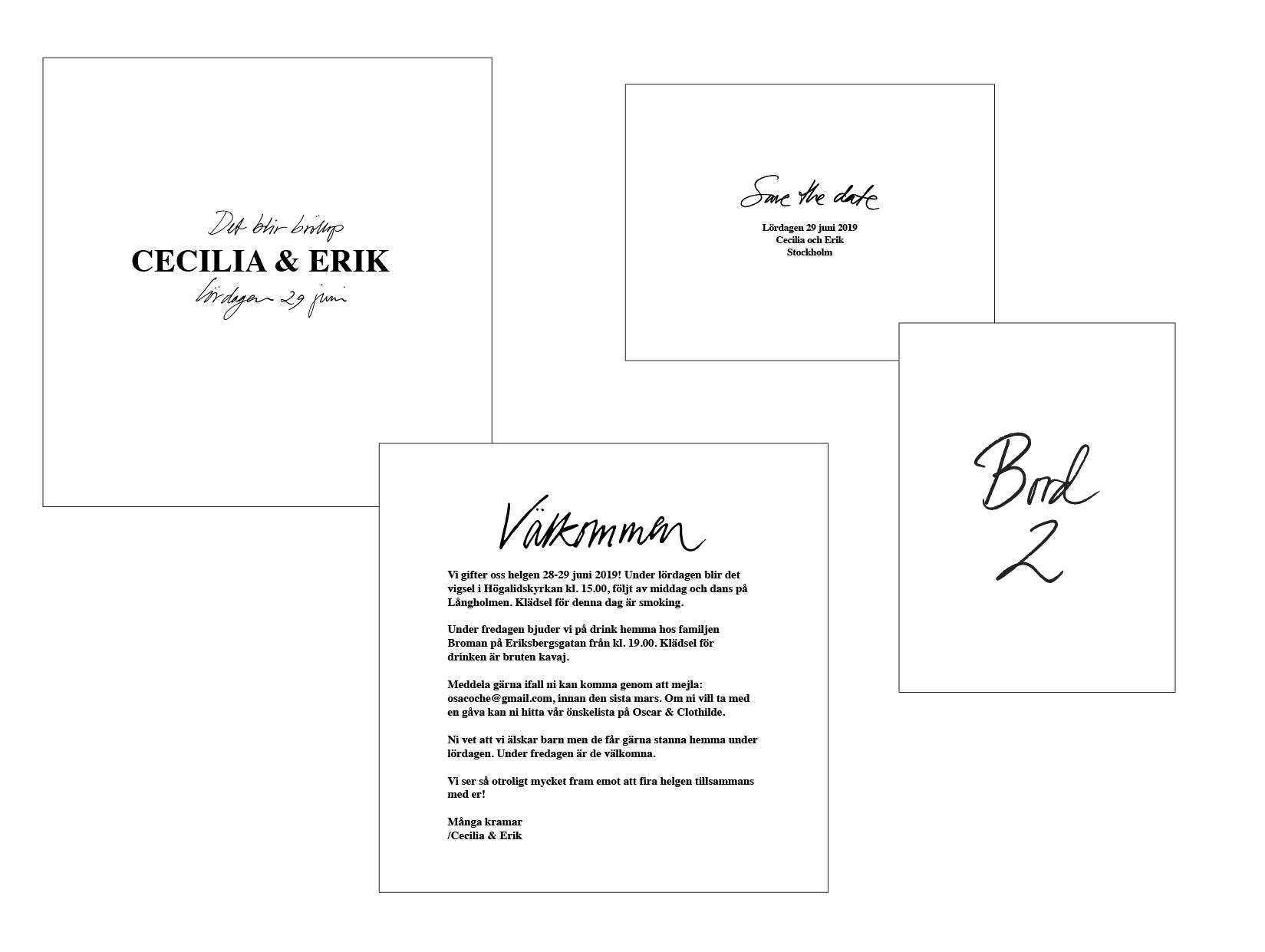 Wedding invitation suite, minimalist