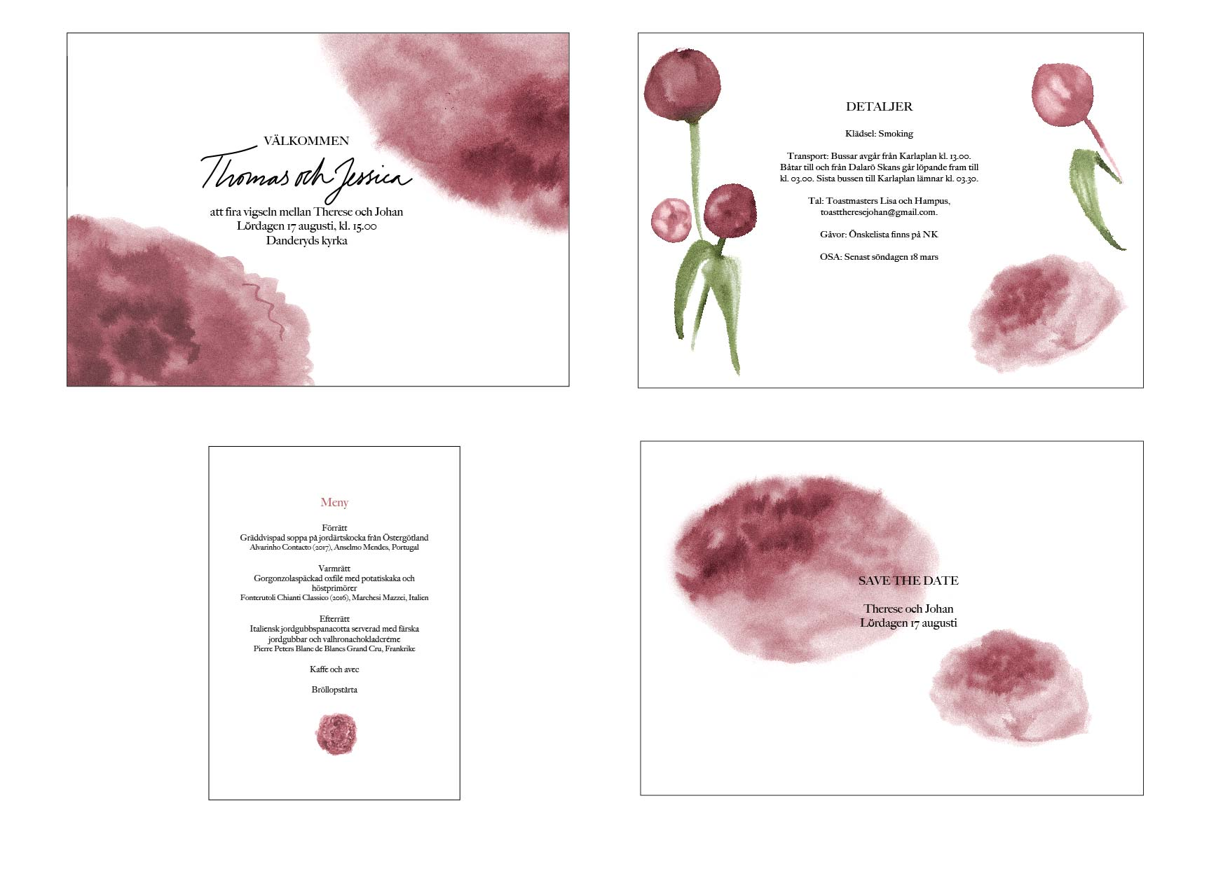 Wedding invitation suite, peonies