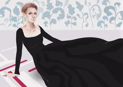 Black dress – mixed media