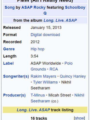 PMW (All I Really Need) by A$AP Rocky ft. ScHoolboy Q - Micah Producer Credit