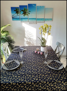 Nappe & Serviettes - Sakura Bleu & Or