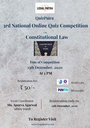 LEGAL PATRA  PRESENTS 3rd national quiz competition On CONSTITUTIONAL LAW