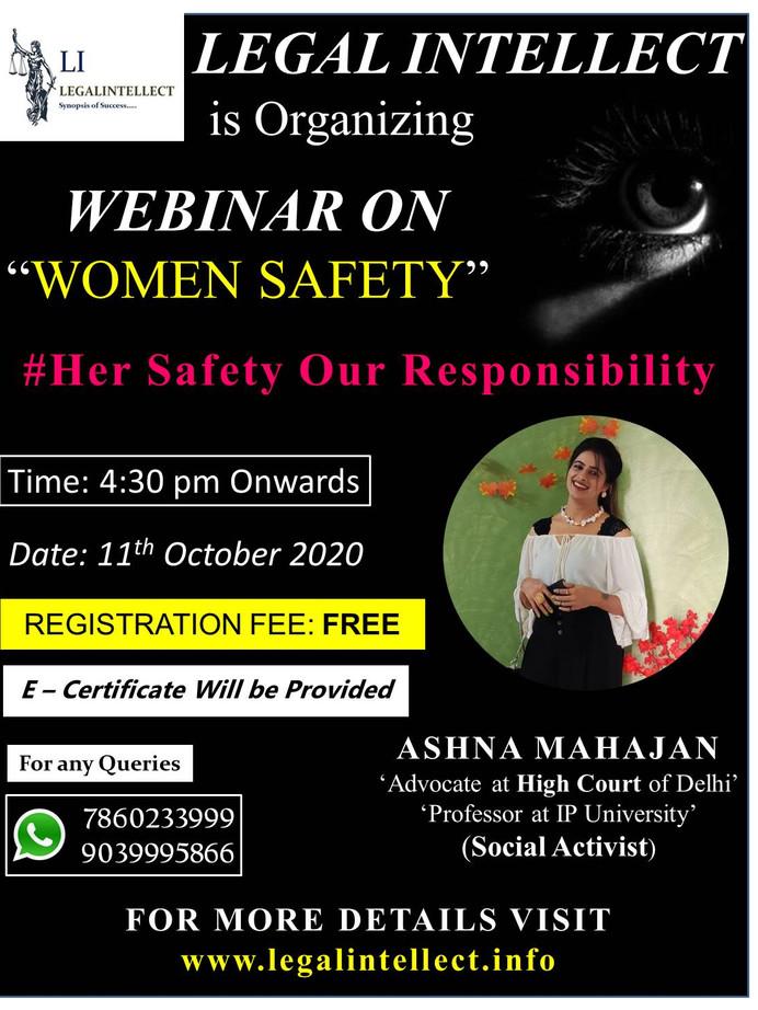 WEBINAR POSTER ON WOMEN SAFETY