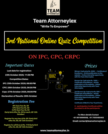 Team Attorneylex Online Quiz Competition on IPC, CPC, CrPC