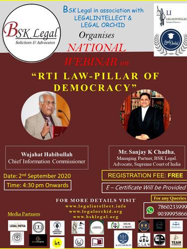 "NATIONAL WEBINAR ON ""RTI LAW-PILLAR OF DEMOCRACY"""