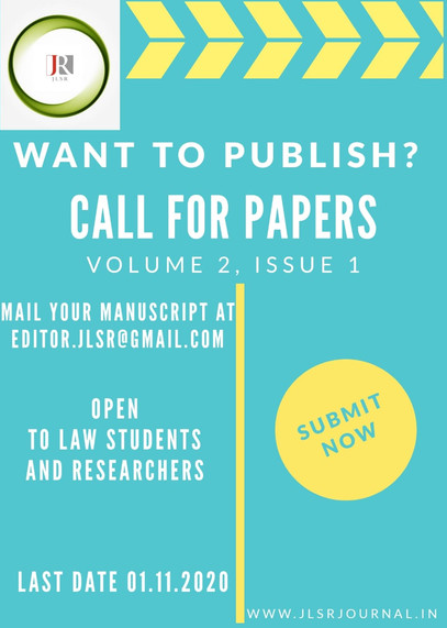 CALL FOR PAPERS@JLSR JOURNAL [VOLUME 2, ISSUE 1] : SUBMIT BY NOV 1ST, 2020