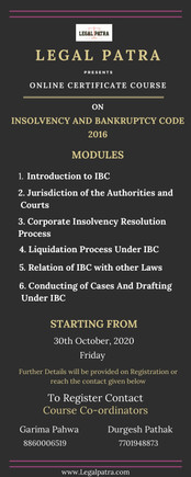 LEGAL PATRA  CERTIFICATE COURSE ON INSOLVENCY AND BANKRUPTCY CODE 2016