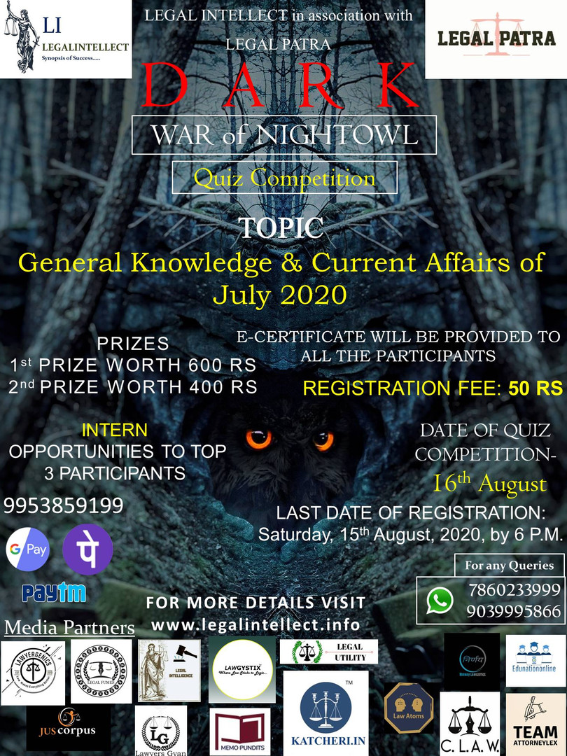 DARK (WAR of NIGHTOWL) a QUIZ COMPETITION by LEGAL INTELLECT in Association with LEGAL PATRA