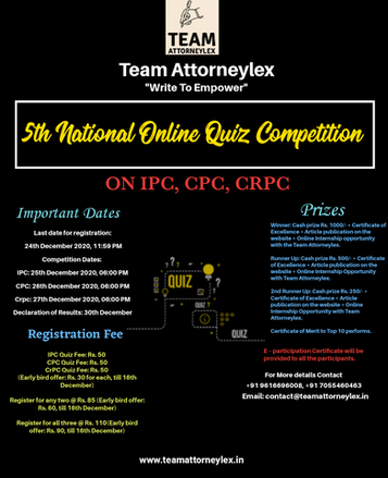 5th National Online Quiz Competition