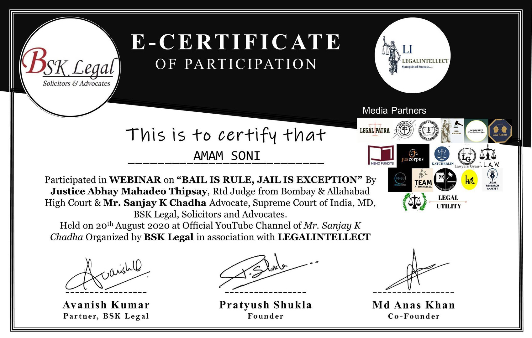 CERTIFICATE OF BAIL IS RULE JAIL IS EXCE