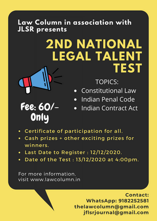 LAWCOLUMN'S NATIONAL LEGAL TALENT TEST IN ASSOCIATION WITH JLSR : REGISTER NOW!!!
