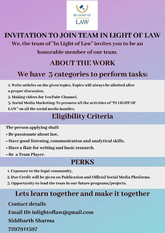 """OPPORTUNITY TO JOIN THE TEAM OF """"IN LIGHT OF LAW"""""""