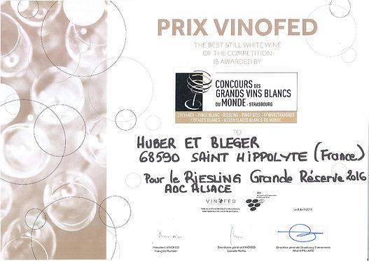 Diplome Prix VINOFED 2019 HUBER et BLEGE