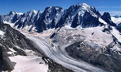 Survol du glacier d'Argentière