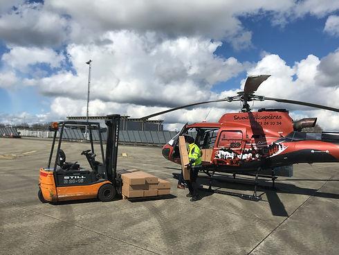 transport de marchandises en hélicoptère