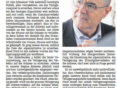 Ehem. Ständerat Claude Janiak: Güter verlagern und endlich die Alpeninitiative umsetzen