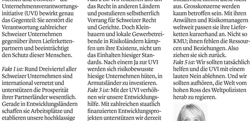 Elisabeth Schneider-Schneiter: «Runter vom hohen Ross der Weltpolizisten»